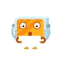 Reading paper little robot character vector