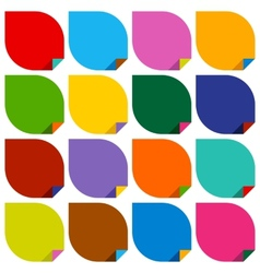 Set of 16 blank stickers with bent colored angles vector