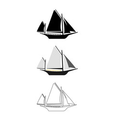set of flat boat icon cartoon outline vector image vector image