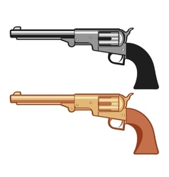 Silver and gold Revolver Gun isolated on vector image