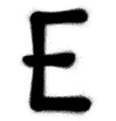 sprayed E font graffiti in black over white vector image vector image