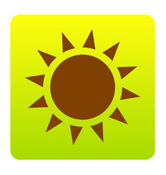 Sun sign brown icon at green vector