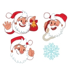 Three expressions of santa claus character vector