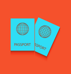 Two passports sign whitish vector