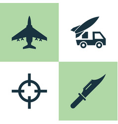 Warfare icons set collection of aircraft cutter vector