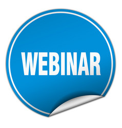 webinar round blue sticker isolated on white vector image vector image