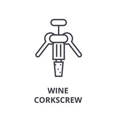 wine corkscrew line icon outline sign linear vector image