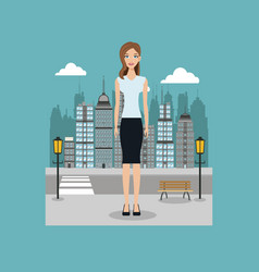 woman standing street city with brench and lamp vector image vector image