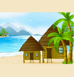 Wooden huts on the beach vector