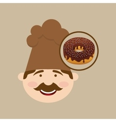 Baker holding donuts vector