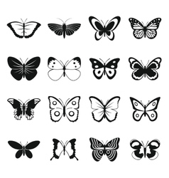 Butterfly icons set simple style vector