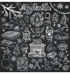Christmas season doodle iconssymbolsChalk vector image
