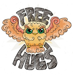 Flying doodle owl free hugs fluffy bird vector
