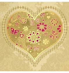 Old grunge paper with big heart vector