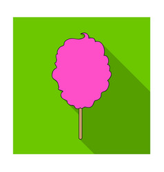 Pink sweet cotton wool on a stick dessert for vector