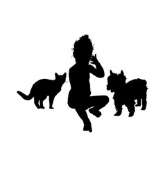 Child with cat and dog silhouette in black vector