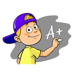 Boy writing grade vector