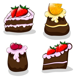 Cartoon cakes vector image