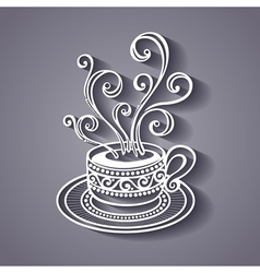 Decorative cup of coffee vector