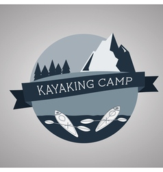 Kayaking camp logo expedition label and sticker vector