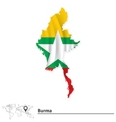 Map of burma with flag vector