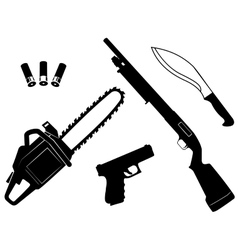 Set of gangster criminal weapons vector