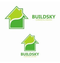 Green eco house logo design template vector