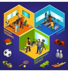 Sports equipment athletes isometric 2x2 vector