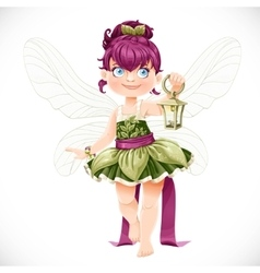 Beautiful little fairy with a flashlight isolated vector
