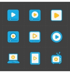 Flat video player icons on dark background vector
