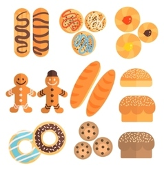 Pastry collection in cartoon slyle vector