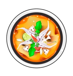Tom yum or thai spicy sour soup with squids vector