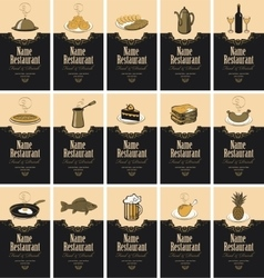 Business cards with food and drinks vector