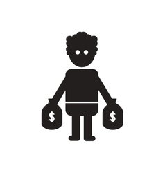 Flat icon in black and white man bags of money vector