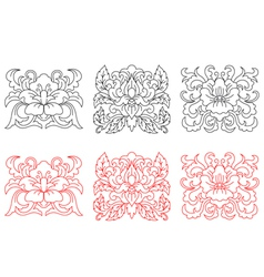 Retro flowers embellishments vector