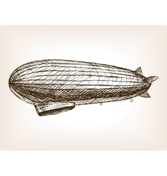 Antique dirigible hand drawn sketch vector image vector image
