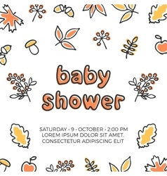 Baby shower template with autumn doodle vector