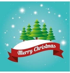 Beauty card merry christmas tree snow label design vector