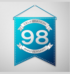 blue pennant with inscription ninety eight years vector image