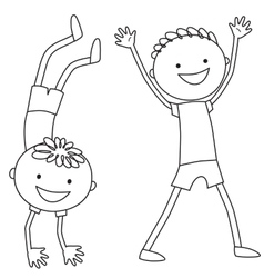 Boy standing on hands boy keeping his hands up vector