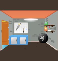 Bright cartoon interior of the garage vector