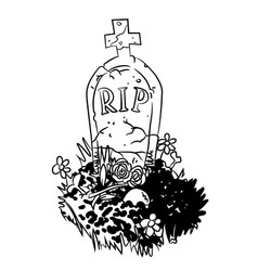 Cartoon image of grave vector