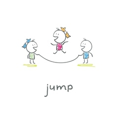 Children playing jumping rope vector
