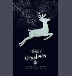 Christmas and new year silver glitter deer card vector