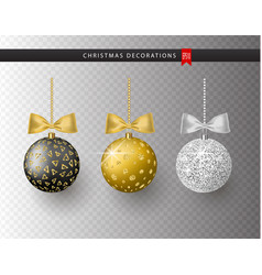 collection of realistic beautiful shiny christmas vector image vector image