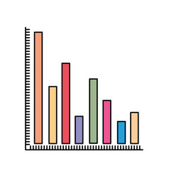 Colorful silhouette of column chart vector