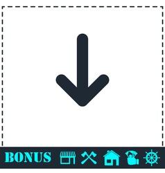 Down arrow icon flat vector