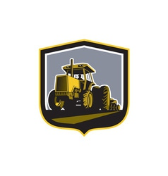 Farmer driving vintage farm tractor plowing retro vector