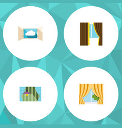 Flat icon frame set of glass curtain glass frame vector