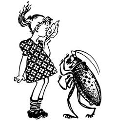 Girl with beetle vector